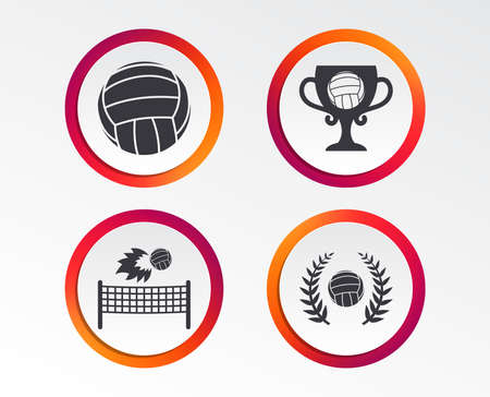 Volleyball and net icons. Winner award cup and laurel wreath symbols. Beach sport symbol. Infographic design buttons. Circle templates.