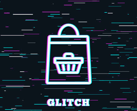 Glitch effect. Shopping bag with cart line icon. Supermarket buying sign. Sale symbol. Background with colored lines. Illustration