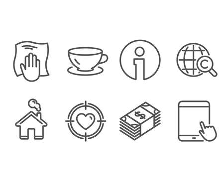 Set of Valentine target, International Сopyright and Usd currency icons. Espresso, Washing cloth and Tablet pc signs. Heart in aim, World copywriting and buying commerce.
