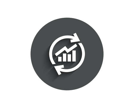 Chart simple icon. Update Report graph or Sales growth sign. Analysis and Statistics data symbol. Circle flat button with shadow.