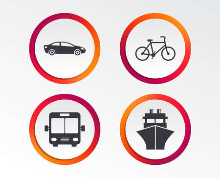 Transport icons. Car, Bicycle, Public bus and Ship signs. Shipping delivery symbol. Family vehicle sign. Infographic design buttons. Circle templates.