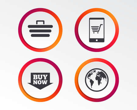 Online shopping icons. Smartphone, shopping cart, buy now arrow and internet signs. WWW globe symbol. Infographic design buttons. Circle templates. Stock Vector - 100536693