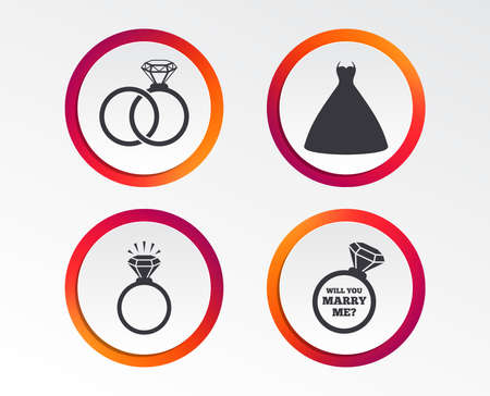 Wedding dress icon. Bride and groom rings symbol. Wedding or engagement day ring shine with diamond sign. Will you marry me Infographic design buttons. Circle templates. Illustration