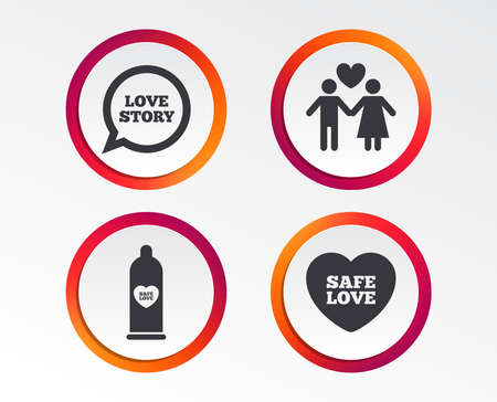 Condom safe sex icons. Lovers couple signs. Male love female. Speech bubble with heart. Infographic design buttons. Circle templates. Stock Illustratie