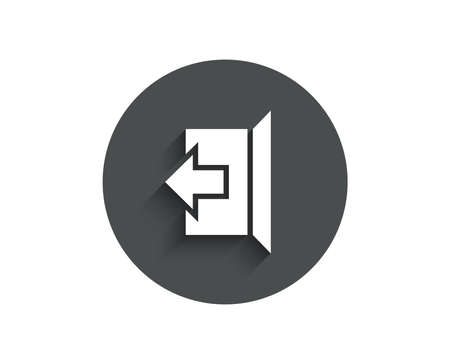 Logout arrow simple icon. Sign out symbol. Navigation pointer. Circle flat button with shadow. Иллюстрация