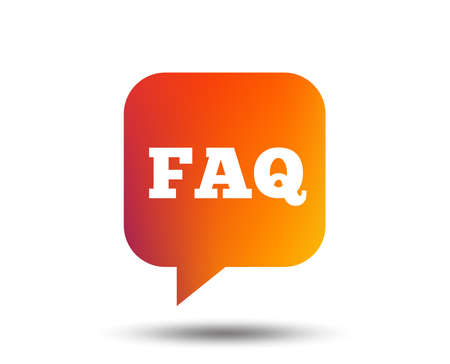 FAQ information sign icon. Help speech bubble symbol. Blurred gradient design element. Vivid graphic flat icon.