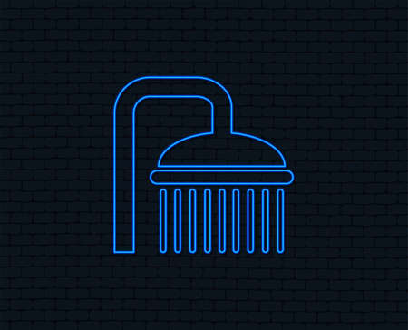 Neon light. Shower sign icon. Douche with water drops symbol. Glowing graphic design. Brick wall.