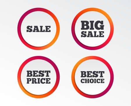 Sale icons. Best choice and price symbols. Big sale shopping sign. Infographic design buttons. Circle templates.