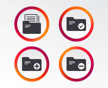 Accounting binders icons. Add or remove document folder symbol. Bookkeeping management with checkbox. Infographic design buttons. Circle templates.