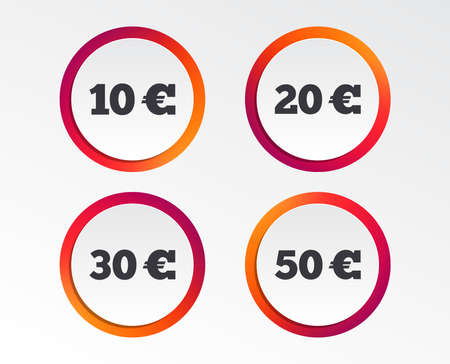 Money in Euro icons. 10, 20, 30 and 50 EUR symbols. Money signs Infographic design buttons. Circle templates. 向量圖像