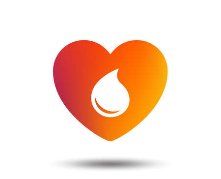Blood donation sign icon. Medical donation. Heart with blood drop. Blurred gradient design element. Vivid graphic flat icon.