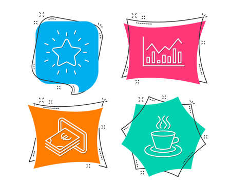 Set of Infochart, Cash and Rank star icons. Tea cup sign. Stock exchange, Atm payment, Best result. Coffee mug.  Flat geometric colored tags. Vivid banners. Trendy graphic design. Vector Illustration