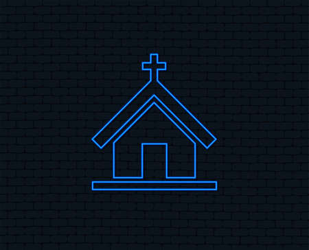Neon light. Church icon. Christian religion symbol. Chapel with cross on roof. Glowing graphic design. Brick wall. Иллюстрация