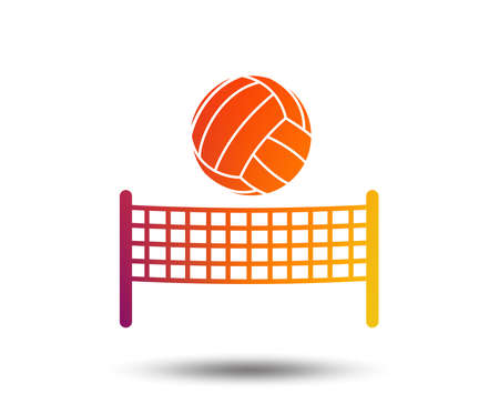 Volleyball net with ball sign icon. Beach sport symbol. Blurred gradient design element. Vivid graphic flat icon.