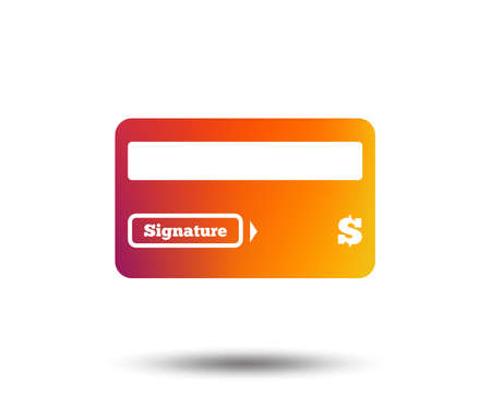 Credit card sign icon. Debit card symbol. Virtual money. Blurred gradient design element. Vivid graphic flat icon.