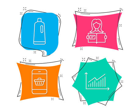 Set of Shampoo, Smartphone buying and Woman read icons. Graph sign. Bath cleanser, Website shopping, Girl studying. Presentation diagram. Flat geometric colored tags. Vivid banners.