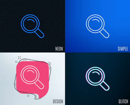 Glitch, Neon effect. Search line icon. Magnifying glass sign. Enlarge tool symbol. Trendy flat geometric designs. Çizim
