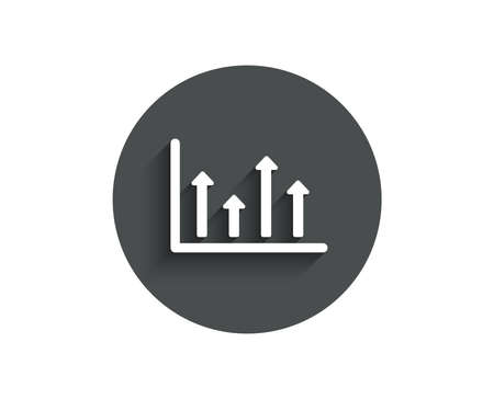 Growth chart simple icon. Financial graph sign. Upper Arrows symbol. Business investment. Circle flat button with shadow.  イラスト・ベクター素材