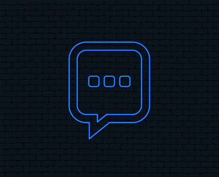 Neon light. Chat sign icon. Speech bubble with three dots symbol. Communication chat bubble. Glowing graphic design. Brick wall.