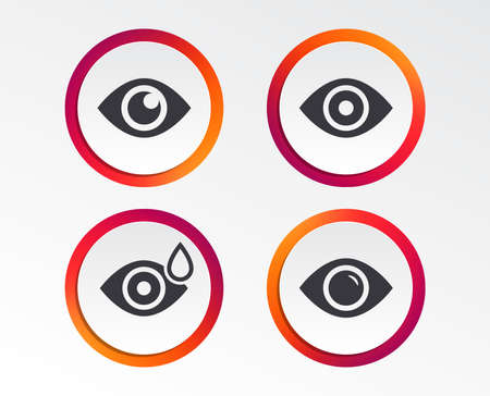 Eye icons. Water drops in the eye symbols. Red eye effect signs. Infographic design buttons. Circle templates. Ilustrace