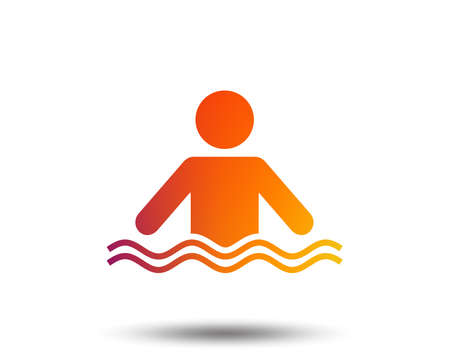 Swimming sign icon. Pool swim symbol. Sea wave. Blurred gradient design element. Vivid graphic flat icon.