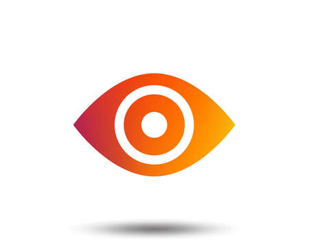 Eye sign icon. Publish content button. Visibility. Blurred gradient design element. Vivid graphic flat icon.