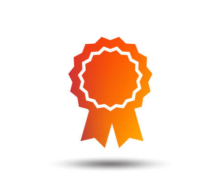 Award medal icon. Best guarantee symbol. Winner achievement sign. Blurred gradient design element. Vivid graphic flat icon.