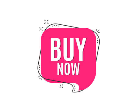 Buy Now. Special offer price sign. Advertising Discounts symbol. Speech bubble tag. Trendy graphic design element. Stock Vector - 100543732