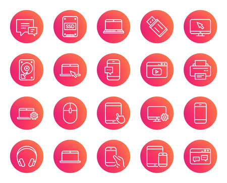Mobile Devices line icons. Set of Laptop, Tablet PC and Smartphone signs. HDD, SSD and Flash drives. Headphones, Printer and Mouse symbols. Chat speech bubbles. Trendy gradient circle buttons. Illustration