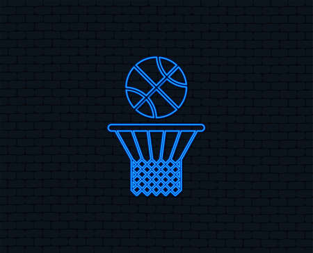 Neon light. Basketball basket and ball sign icon. Sport symbol. Glowing graphic design. Brick wall. Illustration