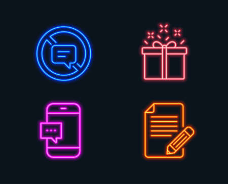 Neon lights. Set of Special offer, Stop talking and Smartphone message icons. Article sign. Delivery box, Do not talk, Cellphone chat. Feedback. Glowing graphic designs. Ilustração