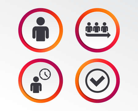 Queue icon. Person waiting sign. Check or Tick and time clock symbols. Infographic design buttons. Circle templates. Ilustracja