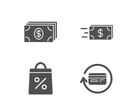 Set of Banking, Shopping bag and Money transfer icons. Refund commission sign. Money payment, Supermarket discounts, Cash delivery. Cashback card. Quality design elements. Classic style.