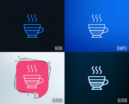 Glitch, Neon effect. Cafe creme icon. Hot drink sign. Beverage symbol. Trendy flat geometric designs.