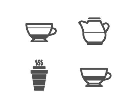 Set of Dry cappuccino, Milk jug and Takeaway icons. Bombon coffee sign. Beverage mug, Fresh drink, Takeout coffee. Cafe bombon. Quality design elements. Classic style. Stock Illustratie