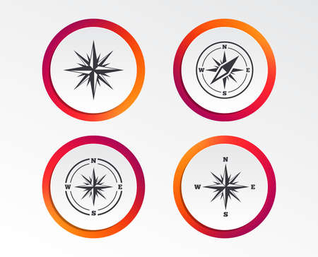 Windrose navigation icons. Compass symbols. Coordinate system sign. Infographic design buttons. Circle templates.