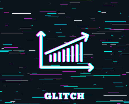 Glitch effect. Chart line icon. Report graph or Sales growth sign. Analysis and Statistics data symbol. Background with colored lines. Illusztráció