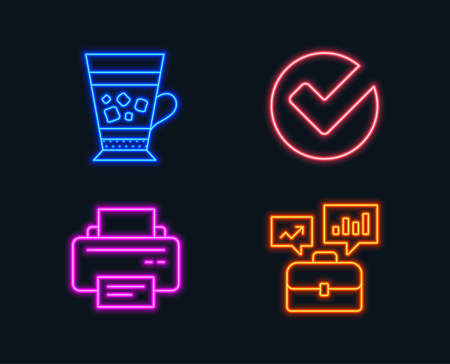 Neon lights. Set of Verify, Frappe and Printer icons. Business portfolio sign. Selected choice, Cold drink, Printing device. Job interview. Glowing graphic designs. Illustration