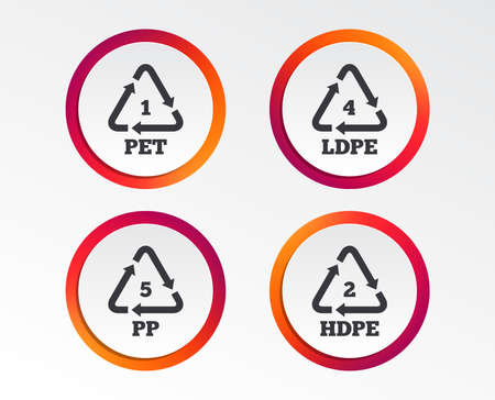 PET 1, Ld-pe 4, PP 5 and Hd-pe 2 icons. High-density Polyethylene terephthalate sign. Recycling symbol. Infographic design buttons. Circle templates. Illustration