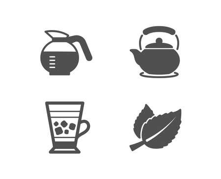 Set di icone di caffettiera, Frappe e teiera. Segno di foglie di menta. Caffè preparato, bevanda fredda, bollitore per il tè. Mentha alle erbe. Elementi di design di qualità. Stile classico. Vettoriali