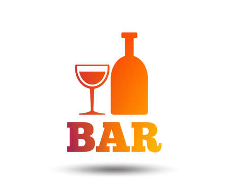 Bar or Pub sign icon. Wine bottle and Glass symbol. Alcohol drink symbol. Blurred gradient design element. Vivid graphic flat icon.