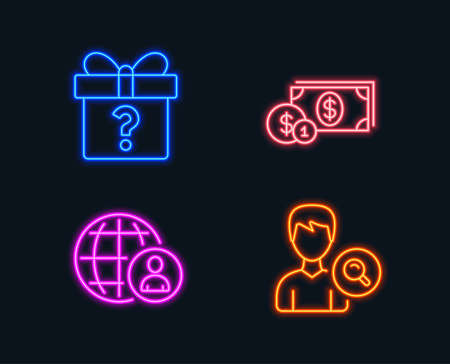 Neon lights. Set of Dollar money, International recruitment and Secret gift icons. Search people sign. Cash with coins, World business, Unknown package. Find profile. Glowing graphic designs. Illustration