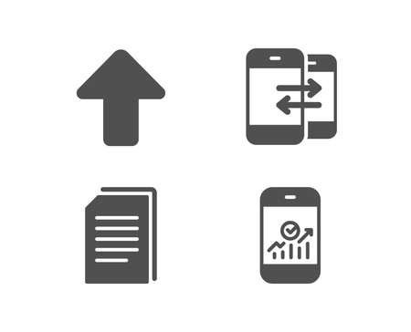 Set of Copy files, Phone communication and Upload icons. Smartphone statistics sign. Copying documents, Incoming and outgoing calls, Load arrowhead. Mobile business. Quality design elements.