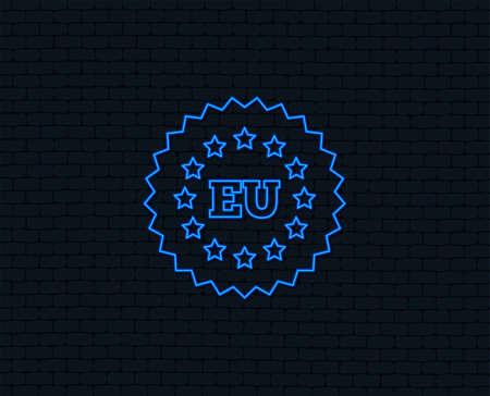 Neon light. European union icon. EU stars symbol. Glowing graphic design. Brick wall. 일러스트