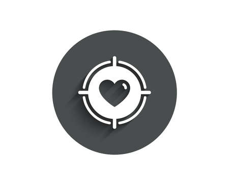 Heart in Target aim simple icon. Love dating symbol. Valentines day sign. Circle flat button with shadow.