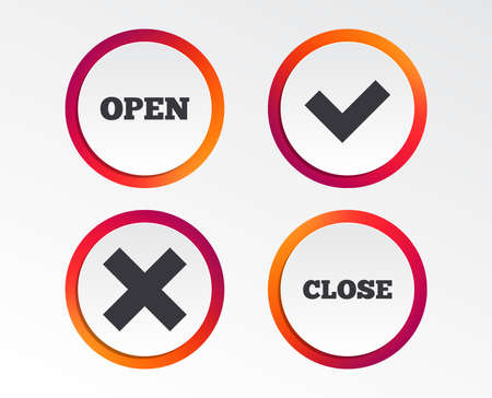 Open and Close icons. Check or Tick. Delete remove signs. Yes correct and cancel symbol. Infographic design buttons. Circle templates.