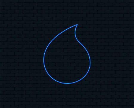 Neon light. Water drop sign icon. Tear symbol. Glowing graphic design. Brick wall. Vector Ilustrace