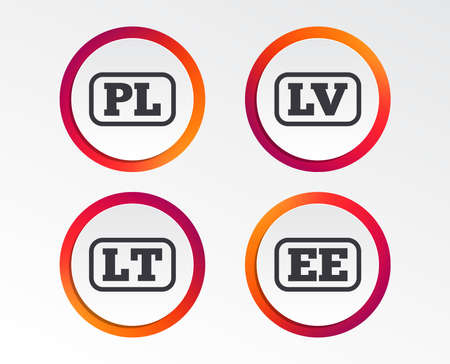 Language icons. PL, LV, LT and EE translation symbols. Poland, Latvia, Lithuania and Estonia languages. Infographic design buttons. Circle templates. Vector  イラスト・ベクター素材