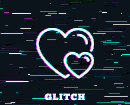 Glitch effect. Couple Love line icon. Two Hearts sign. Valentines day symbol. Background with colored lines. Vector Foto de archivo - 100696858