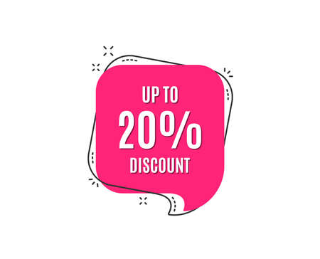 Up to 20% Discount. Sale offer price sign. Special offer symbol. Save 20 percentages. Speech bubble tag. Trendy graphic design element. Vector Illustration